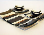 Fused Glass Sushi Set  in Bronze Serving Dish 0032 - GetGlassy