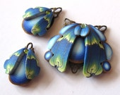 Butterfly Wings Bead Components Polymer Clay Pendants in Blue and Teal - Claybykim