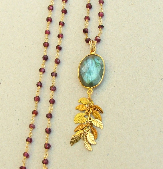 Long Pendant Necklace, Pendant on Rosary Chain, Rosary Style Necklace, Garnet Labradorite Necklace,
