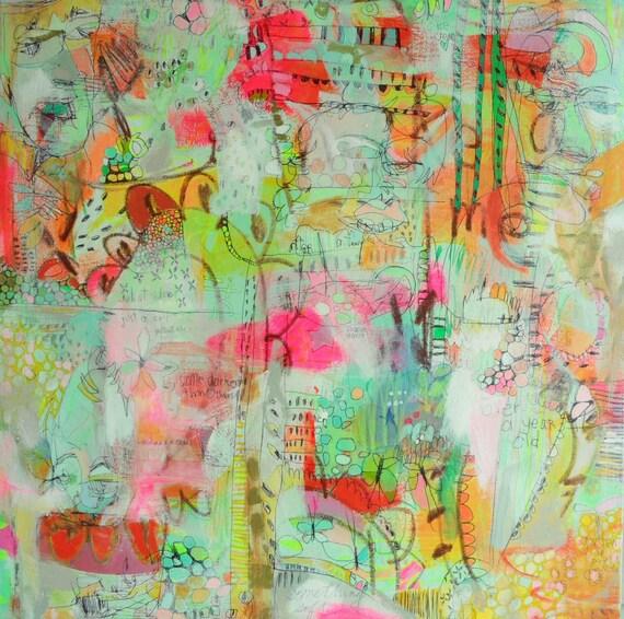 ORIGINAL 'Garden of Paint & Color'  30x30in  by Jennifer Mercede