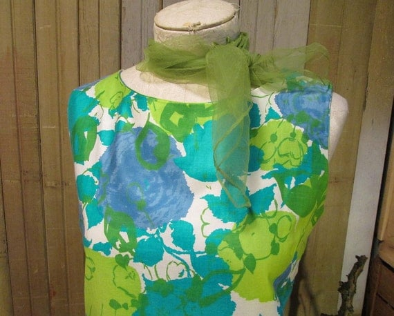 60s vintage Dress Blue Lilac Green Summer flowers Cotton Sateen Shift  S M