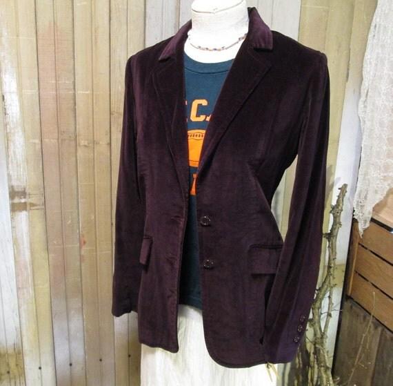 Vintage Purple Velvet jacket Eggplant Aubergine 70s cotton steampunk blazer  M