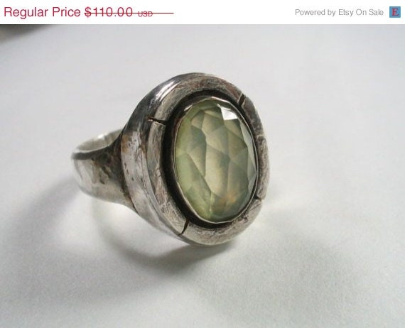 Prehnite silver ring handmade sterling and stone jewelry