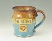 BE MINE Red Heart Valentines Day Mug, 16 Ounce Coffee Mug, Pottery Beer Mug, Honey Brown and Bright Light Blue, Ready To Ship