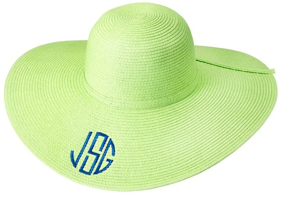 Personalized Lime Green Floppy Sun Hat - Monogrammed Beach Pool Derby