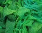Hand dyed cotton gauze, cotton scrim - bright green, emerald green,  jade green, malachite