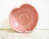 Valentine Heart Yarn Bowl Ceramic Handmade Wheel Thrown Pottery Honeysuckle Rose Pink - MyMothersGarden