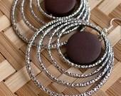 Island Chic Silver Hoop Earrings - Wood Earrings - Wood Jewelry - stoneandbone