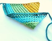hair kerchief, bandana for women, girls, teens, and toddlers - teal, turquoise blue, lime green, spicy mustard yellow stripe, ready to ship - BaruchsLullaby