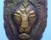 Lion - green art -recycled paper fiber cast, sculptural relief wall hanging