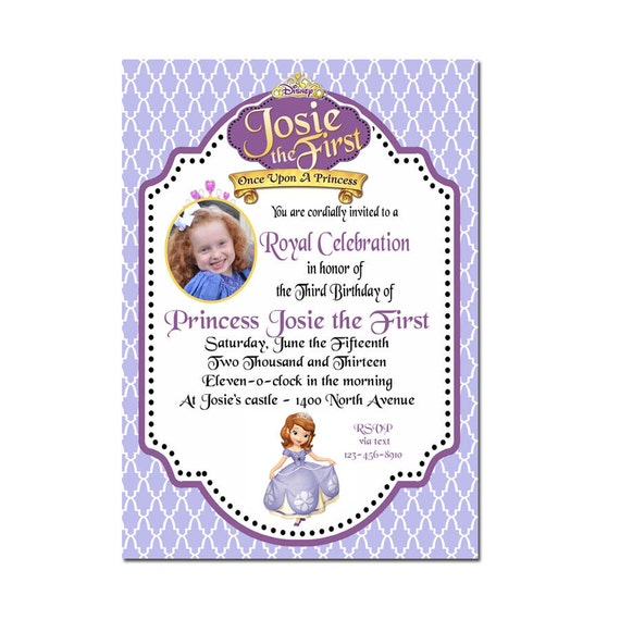 Sofia the First Invitation -  Sofia the first birthday Photo Party  Invitations - Digital File- Custom - Personalized