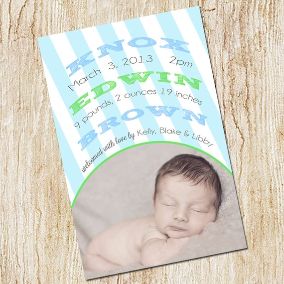 Photo Birth announcement Card - Digital file- Boy Birth Announcement