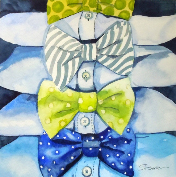 "Bowtie Wall Art, Bowtie Print, Lime, blue, grey, ""Bowtie For All Occasions"" 14x14"