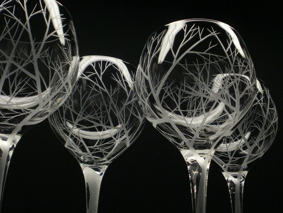 4 Red Wine Glasses Hand Engraved 'Reaching by daydreemdesigns