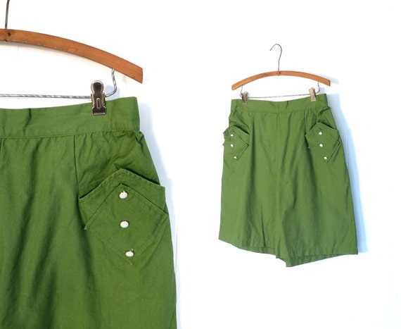 green side pocket vintage shorts with high waist
