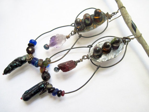 An Arrangement of Stars. Rustic Gypsy dark, victorian tribal assemblage earrings