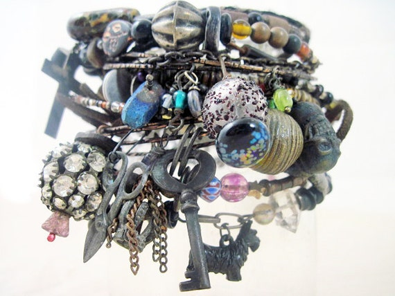 The Past. Tribal Gypsy Assemblage Bangle Stack in Black and Darks.