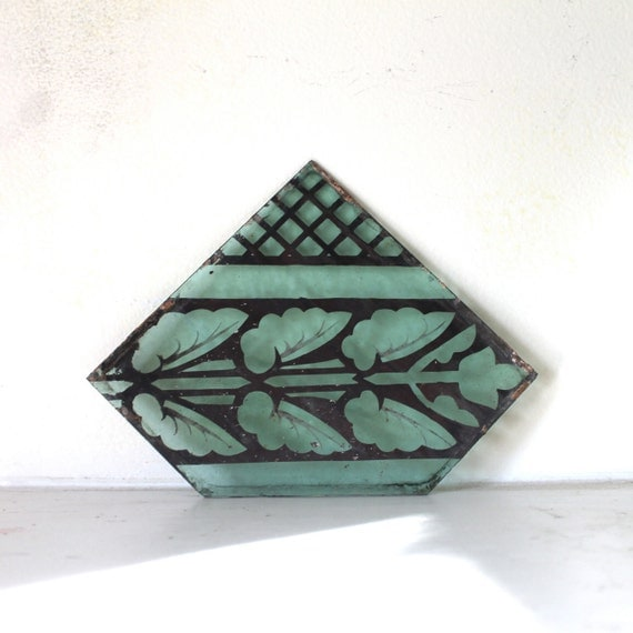 Anitque stained glass fragment 1900 - 1920's handpainted blue / green glass from chapel in Chicago