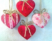 Red & Pink Fabric Heart Ornaments - Set of 4 - Reversible -- N0.1