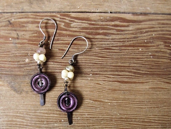 Lucy - vintage button earrings - Victorian assemblage - salvage primitive eco friendly jewelry