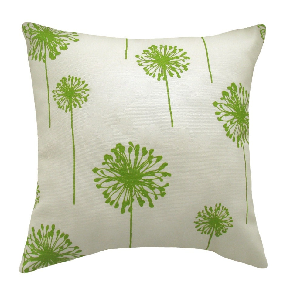 Decorative Pillows Etsy : Items similar to March March Madness Sale - Green Throw Pillow - Dandelion Greenage Outdoor ...