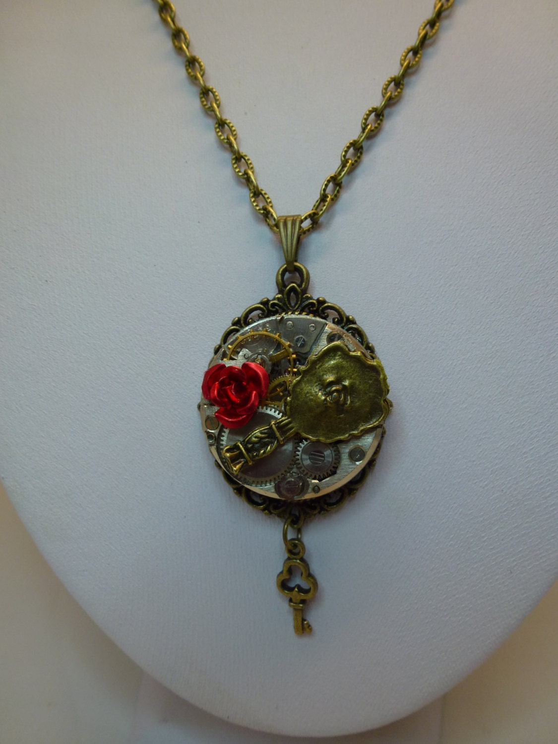 Beauty and the beast steampunk watch necklace ebay for Disney beauty and the beast jewelry