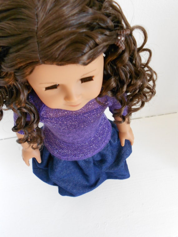 The JESSA - Purple Sparkle Raglan Tee, Denim Bubble Skirt, and Doll Ring 3-Piece Set for American Girl Dolls by DolzDreamzzz