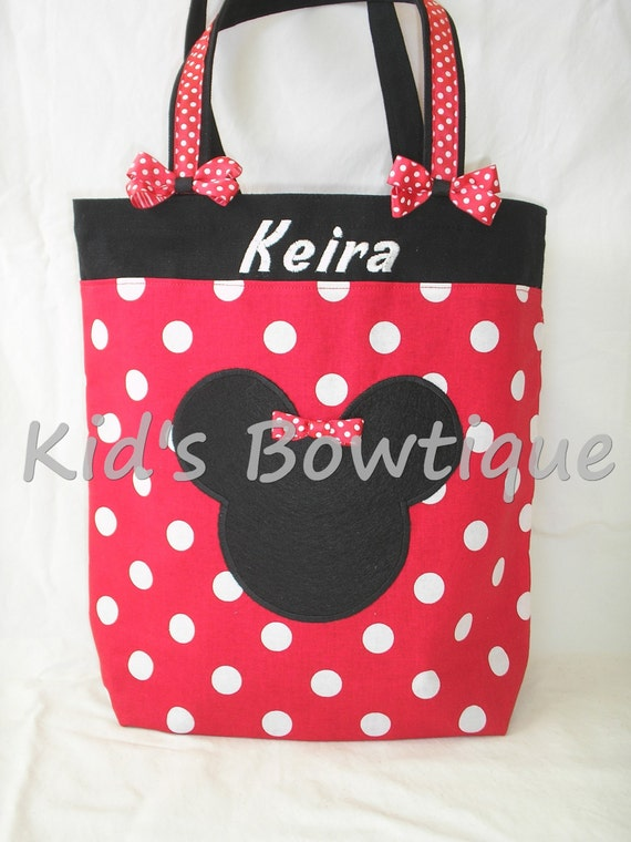 Red Minnie Mouse Inspired Personalized Bag - Monogrammed Diaper Bag