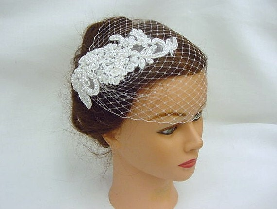 Gatsby Style Bridal Wedding Veil French Net Cage Blusher with Lace Accent