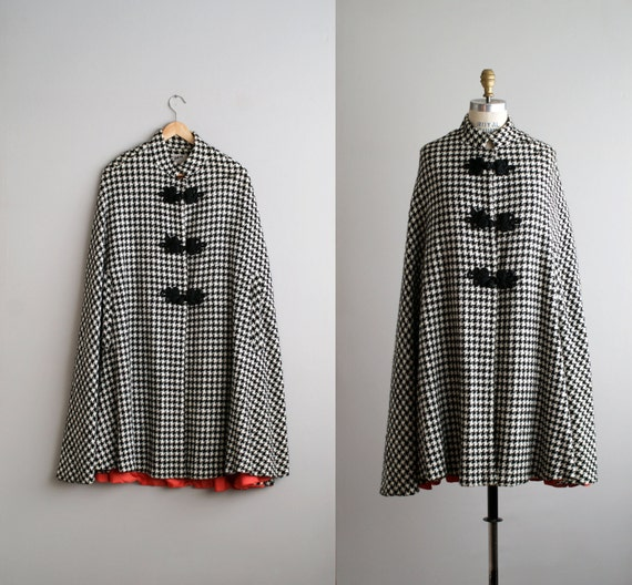 1960s houndstooth cape