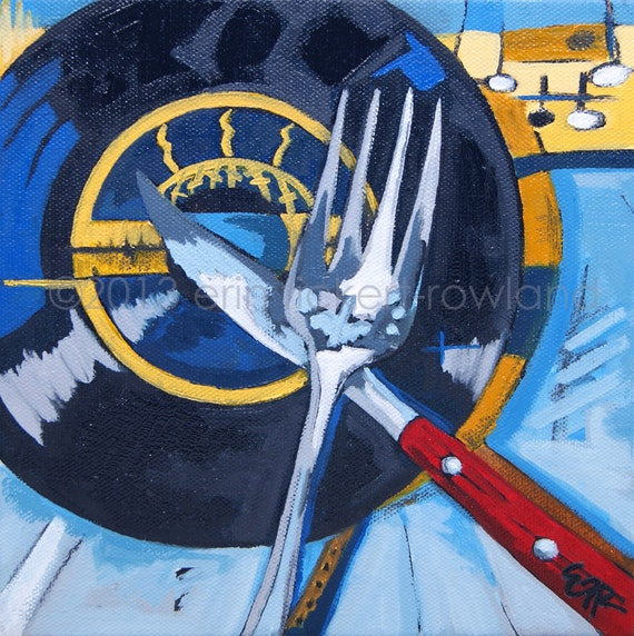 Modern Abstract Vinyl Record Still Life Painting- Eat It for Breakfast- Original Oil on Canvas by Erin Fickert-Rowland
