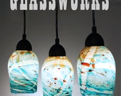 Turquoise Speckled Hand Blown Glass Pendant Light - Unique Lighting - Artisan Lights - Example Listing - Available in any color - MarbleCityGlassworks