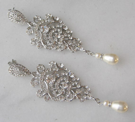 Rhinestone Chandelier Earrings, Pearl and Swarovski Crystal Bridal Vintage Style - CALEDONIA