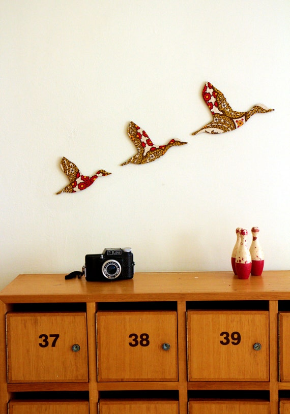 Flying Ducks - Retro Red, Brown and Yellow