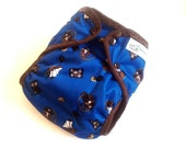 Pirate Monkey One Size PUL Printed Pocket Diaper with Organic Bamboo Velour Inner