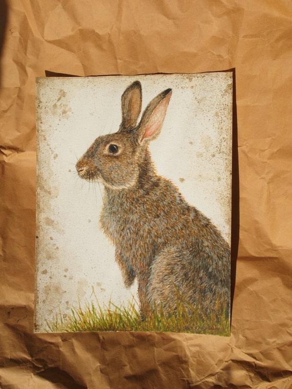 Original Watercolour Painting of a Rabbit