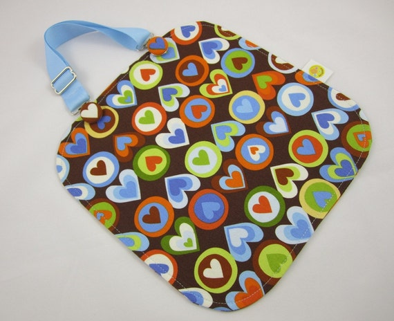 SALE - Adjustable Toddler Bib - Pop Hearts Blueberry - Baby Bib - Suspender Clip Bib - Amy Schimler - Rainbow Hearts - Boy