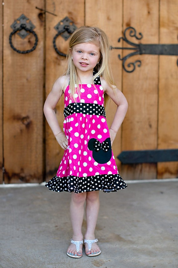 Girls - Minnie Mouse/ Disney Halter fuchsia Dress 12M To 6Y