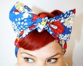 Bow hair tie, Vintage Inspired Head scarf, Red Blue and Yellow Floral Print - OhHoneyHush