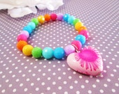Splattered Rainbow Heart Bracelet