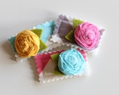 pink yellow and teal flowers - set of 3 snap clips