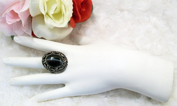 Antique Silver Chunky Black Onyx Ring of Protection