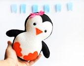 Valentine Baby Penguin Plush, adorable Fleece / felt baby plush, eco friendly children toy A315