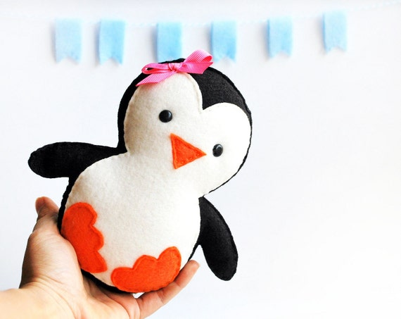 Baby Penguin Plush, adorable Fleece / felt baby plush, eco friendly children toy A652