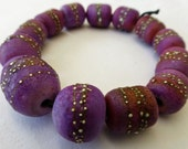 Made to Order   13 Larger Hand Made Bead Set in Matte Violet Purple Opaque with Fine Silver - alohabead