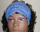 BLUE Knit Hair Tube Summer Weight