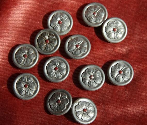 1 dozen flower  lovely vintage metal buttons pewter looking renaissance fair doublet trim intricate