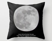 Throw Pillow Cover The Moon photography and typography black and white