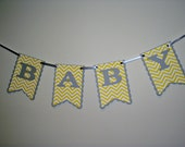 small BABY gray and yellow chevron, its a girl, its a boy, sweet baby, baby boy, baby girl, photography prop,
