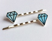 Blue diamond hair slides in gift bag - prettystardesigns